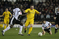 Photo: Pete Lorence.<br />Derby County v Bristol Rovers. The FA Cup. 27/01/2007.<br />Darren Moore and Steve Elliot chase the ball down.