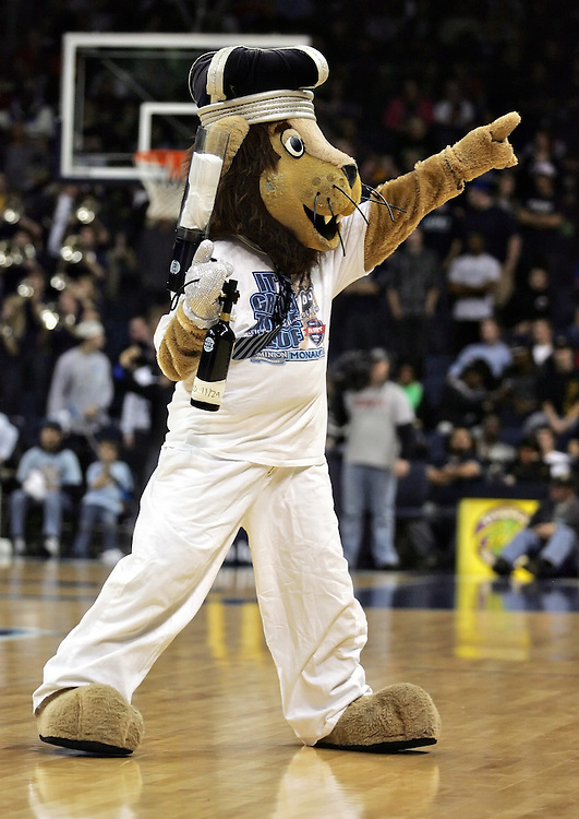 Dec 30, 2011; Norfolk, VA, USA; The Old Dominion Monarchs mascot Big Blue entertains the crowd during a time out against the Missouri Tigers at the Ted Constant Convocation Center. Mandatory Credit: Peter Casey-US PRESSWIRE