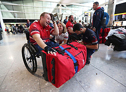 Swimming and archery competitor Jack Cummings in the departure hall at Heathrow Airport, as the 90-strong team of wounded, injured and sick military personnel and veterans representing the UK depart for the 2017 Invictus Games in Toronto.