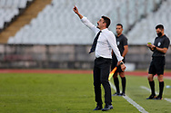 Julio Santiago enters the pitch to protest during the Liga NOS match between Belenenses SAD and Maritimo at Estadio do Jamor, Lisbon, Portugal on 17 April 2021.