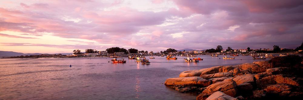 SPAIN, NORTH COAST, GALICIA the picturesque fishing harbor of El Grove on the Ria de Arosa, west of Pontevedra
