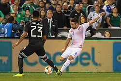 "March 22, 2019 - San Diego, CA, U.S. - SAN DIEGO, CA - MARCH 22: Chile defender Mauricio Isla (4) kicks the ball past Mexico midfielder JesÅ""s Garllardo (23) during the International match between the Mexico National Team and Chile on March 22, 2019 at SDCCU Stadium in San Diego, CA.(Photo by Alan Smith/Icon Sportswire) (Credit Image: © Alan Smith/Icon SMI via ZUMA Press)"