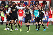 Tom Smith (c) of Swindon Town celebrates with his teammates after scoring his teams 1st goal. Skybet football league 1 match, Crewe Alexandra v Swindon Town at The Alexandra Stadium in Crewe, Cheshire on Saturday 5th September 2015.<br /> pic by Chris Stading, Andrew Orchard sports photography.