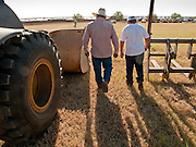 31 JULY 2009 --  BUCKEYE, AZ: Alex Flores (CQ) and his son Erasmo Flores (CQ) 12, from Laredo, TX, walk among the equipment before bidding at the auction on the former Pylman Dairy Farm in Buckeye. The auction was handled by Overland Stockyards from Hanford, CA. The Arizona dairy industry is struggling to survive the worst milk economy some have ever seen. Due to the global recession, overseas demand for Arizona dairy products has plummeted, forcing prices down while production costs have stayed stable or gone up. For every $1 dairymen earn from milk sales, it cost them $1.50 to produce the milk. Photo by Jack Kurtz