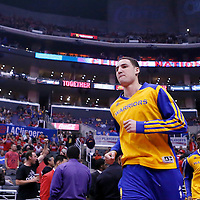 21 April 2014: Golden State Warriors guard Klay Thompson (11) is seen prior to the Los Angeles Clippers 138-98 victory over the Golden State Warriors, during Game Two of the Western Conference Quarterfinals of the NBA Playoffs, at the Staples Center, Los Angeles, California, USA.