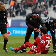 Besiktas's goalkeeper Tolga Zengin (F) during their Turkish superleague soccer match Besiktas between Bursaspor at Ataturk Olimpiyat Stadium in Istanbul Turkey on Sunday 15 February 2015. Photo by Aykut AKICI/TURKPIX