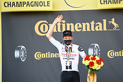 Soren KRAGH ANDERSEN (DEN) pictured celebrating on the podium after winning stage 19 of Tour de France cycling race, over 166,5 kilometers (103.4 miles) with start in Bourg-en-Bresse and finish in Champagnole, France,Friday, September 18, 2020.//JEEPVIDON_1615008/2009191625/Credit:jeep.vidon/SIPA/2009191634 / Sportida