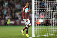Simone Zaza of West Ham United punches the goal post in frustration. EFL Cup, 3rd round match, West Ham Utd v Accrington Stanley at the London Stadium, Queen Elizabeth Olympic Park in London on Wednesday 21st September 2016.<br /> pic by John Patrick Fletcher, Andrew Orchard sports photography.