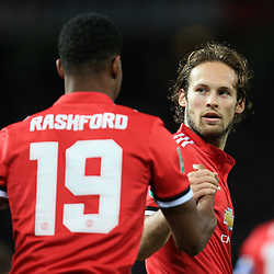 20th September 2017 - Carabao Cup (3rd Round) - Manchester United v Burton Albion - Daley Blind of Man Utd (R) congratulates teammate Marcus Rashford - Photo: Simon Stacpoole / Offside.