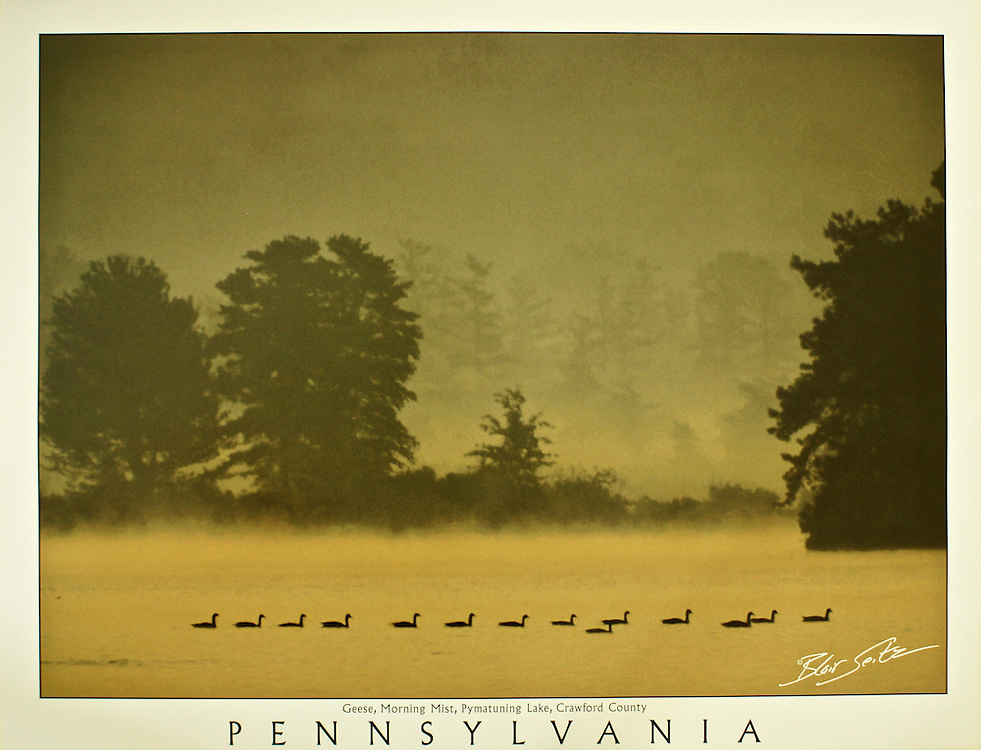 """Poster of geese in mist at Pymatuning State Park, Crawford County, Pennsylvania. White border with word """"Pennsylvania"""" at bottom with space for framing."""