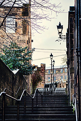 View of historic Vennel steps at Grassmarket in Edinburgh Old Town, Scotland, United Kingdom