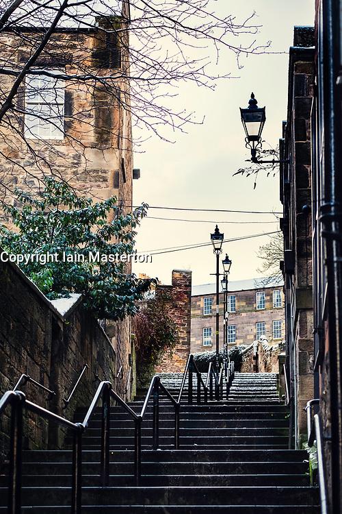 View of historic Vennel steps at Grassmarket in Edinburgh Old Town, Scotland, United Kingdom