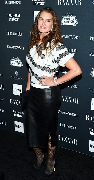 Actress/model Brooke Shields attends the Harper's Bazaar Icons by Carine Roitfeld celebration at The Plaza Hotel in New York, NY on September 8, 2017.  (Photo by Stephen Smith/SIPA USA)