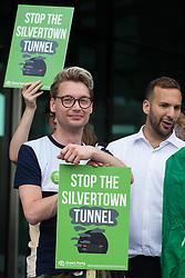 London, UK. 5th June, 2021. Members and supporters of Newham Green Party join environmental activists and local residents protesting against the construction of the Silvertown Tunnel. Campaigners opposed to the controversial new £2bn road link across the River Thames from the Tidal Basin Roundabout in Silvertown to Greenwich Peninsula argue that it is incompatible with the UK's climate change commitments because it will attract more traffic and so also increased congestion and air pollution to London's most polluted borough.