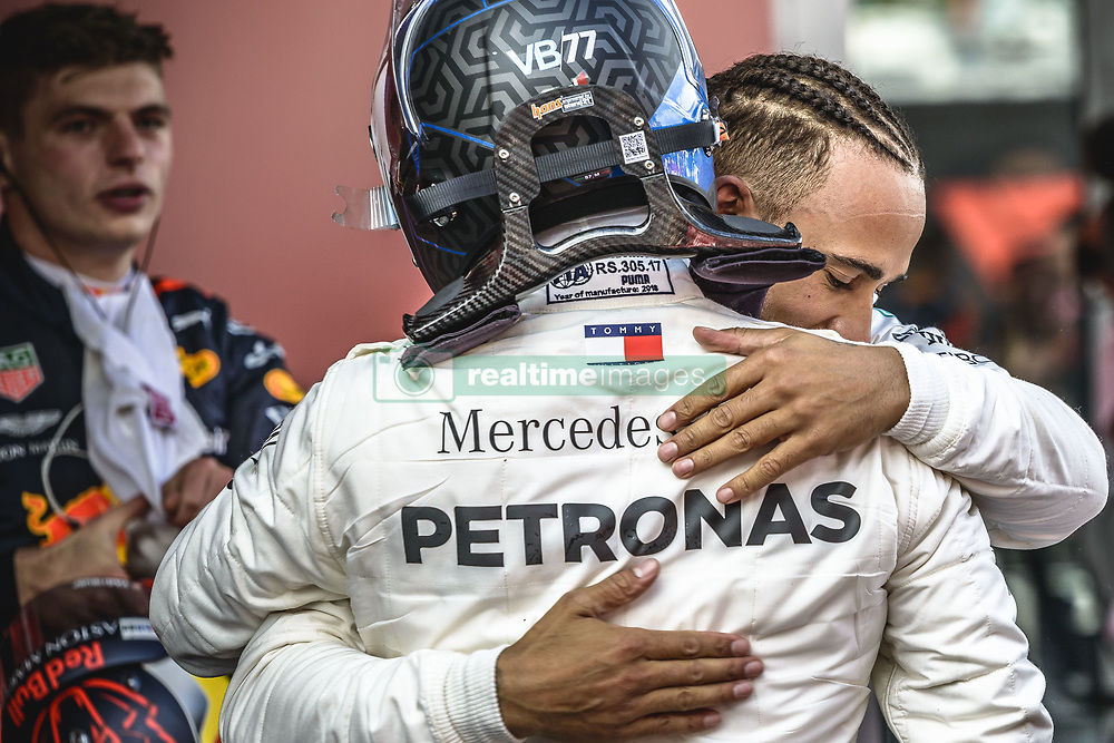 May 13, 2018 - Barcelona, Catalonia, Spain - LEWIS HAMILTON (GBR) is congratulated by Mercedes team mate VALTTERI BOTTAS (FIN)  after winning the Spanish GP at Circuit de Barcelona - Catalunya (Credit Image: © Matthias Oesterle via ZUMA Wire)