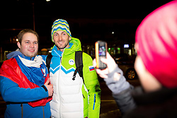 Jakov Fak at reception of Slovenia team arrived from Winter Olympic Games Sochi 2014 on February 25, 2014 at Airport Joze Pucnik, Brnik, Slovenia. Photo by Vid Ponikvar / Sportida