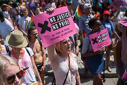June 10, 2017 - Thousands of people took the streets in Washington DC to celebrate the annual Pride Parade. The event marked its 41st anniversary at the Nation's Capital. The Pride Parade travels 1.5 miles through Dupont Circle and 17th Street, passes by the Logan Circle neighborhood and ends along the revitalized 14th Street corridor at S Street. (Credit Image: © Dimitrios Manis via ZUMA Wire)