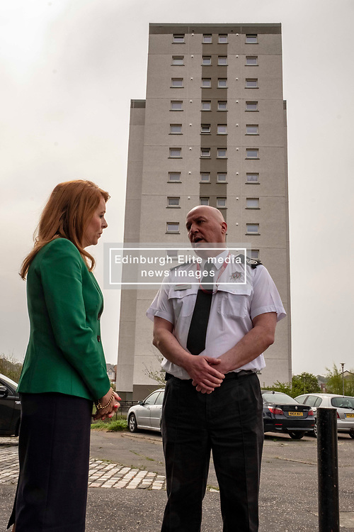 EMBARGOED UNTIL 00:01 24 April 2019<br />Pictured: Ash Denham discusses the problems of fire safety with Ross Haggart, Assistant Chief Fire Officer<br /><br />Today, Community Safety minister Ash Denham launched the Scottish Government's consultation on Strengthening Fire Safety for High Rise Domestic Buildings following the Grenfell Tower fire in London.  Ms Denholm was joined by Assistant Chief Fire Officer Ross Haggart and Mark McHale, building manager of Wauchope House, <br /><br /><br />Ger Harley | EEm 23 April 2019
