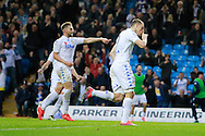 Leeds United's Chris Wood (9) scores a penalty and makes the score 1-0 to Leeds United, and celebrates, during the EFL Sky Bet Championship match between Leeds United and Burton Albion at Elland Road, Leeds, England on 29 October 2016. Photo by Richard Holmes.