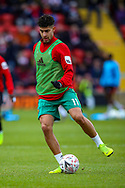 Watford defender Adam Masina (11) warms up before the The FA Cup 3rd round match between Woking and Watford at the Kingfield Stadium, Woking, United Kingdom on 6 January 2019.