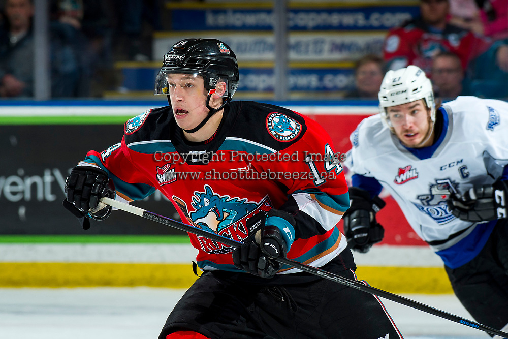 KELOWNA, BC - MARCH 11: Elias Carmichael #14 of the Kelowna Rockets skates against the Victoria Royals at Prospera Place on March 11, 2020 in Kelowna, Canada. (Photo by Marissa Baecker/Shoot the Breeze)