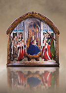 """Gothic painted Panel Virgin of the """"Consellers"""" by Lluis Dalmau. Tempera and gold leaf on wood. Date 1443-1445. Dimesions 316 x 312.5 x 32.5 cm. From the altar of the chapel of Barcelona City Hall. <br /> The prestige attached to Burgundian courtly culture and the painter Jan van Eyck explain why in 1431 King Alfons the Magnanimous sent his official painter, the Valencian Lluís Dalmau, to Flanders, to learn the new realist language at first hand. In 1443, Dalmau was commissioned to paint this altarpiece for the chapel of the City Hall. This work was a breakthrough in Catalonia on account of the format, the technique used, as it was painted in oil, and the skilful illusionism of a figurative space in which that year's five councillors, painted from life, are represented on the same scale as the Virgin and the Saints. National Museum of Catalan Art, Barcelona, Spain, inv no: 015938-000"""