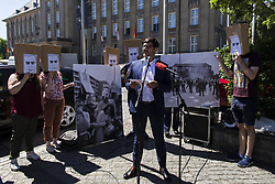 June 2, 2017 - Berlin, Berlin, Germany - Remembrance of the 50th anniversary of the death of BENNO OHNESORG in front of the town hall Schoeneberg. Dr. DIRK BEHRENDT, Senator for Justice, Consumer Protection and Anti-Discrimination, GRETCHEN KLOTZ-DUTSCHKE, former student activist, and WOLFGANG WIELAND, Justice Defender, rember the protests against the Shah's visit to the town hall and the subsequent police intervention.BENNO OHNESORG was a student at the Freie Universität Berlin and took part in the protests against the West Berlin visit of the Shah Reza Pahlavi on June 2. In the evening next to the German Opera, there were clashes between demonstrators and the police. The police officer Karl-Heinz Kurras shot the then 26-year-old Ohnesorg in a backyard on Krummenstrasse near the German Opera. The exact circumstances of the death are controversial and could not be clarified in detail. Kurras was released in court proceedings. The death of Ohnesorg led to a radicalization within the German-wide student protests and foreign-parliamentary currents towards the end of the 1960s. (Credit Image: © Jan Scheunert via ZUMA Wire)