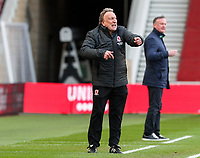 Middlesbrough manager Neil Warnock shouts instructions to his team from the technical area<br /> <br /> Photographer Alex Dodd/CameraSport<br /> <br /> The EFL Sky Bet Championship - Middlesbrough v Stoke City - Saturday 13th March 2021 - Riverside Stadium - Middlesbrough<br /> <br /> World Copyright © 2021 CameraSport. All rights reserved. 43 Linden Ave. Countesthorpe. Leicester. England. LE8 5PG - Tel: +44 (0) 116 277 4147 - admin@camerasport.com - www.camerasport.com