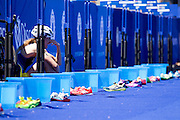 Cassandre Beaugrand breaks down during the Discovery Triathlon World Cup Cape Town 2017. Image by Greg Beadle