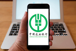 Using iPhone smartphone to display logo of Agricultural Bank of China