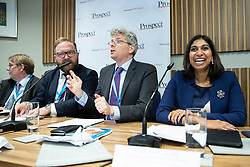 "© Licensed to London News Pictures . 01/10/2018. Birmingham, UK. John Howell MP , David Leighton of ABPorts , Tom Clark of Prospect , Suella Braverman MP Parliamentary Under Secretary of State for the Department for Exiting the EU . Prospect magazine fringe event titled "" Beyond tariffs where are our opportunities to boost trade post-Brexit "" , supported by Associated British Ports . Day 2 of the Conservative Party conference at the ICC in Birmingham . Photo credit: Joel Goodman/LNP"