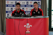 Wales capt Ryan Jones (l) and coach Rob Howley ® talk to the media. Wales rugby training and press conference at the Vale resort, Hensol near Cardiff, South Wales on Tuesday 19th Feb 2013. The team are training ahead of their forthcoming RBS Six nations match in Italy. pic by Andrew Orchard, Andrew Orchard sports photography,