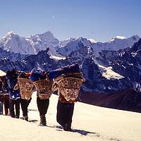 Near Cho La Pass, Gokyo region, Nepal, 1980.  Kwangde Peak on the left, Khumbila Peak on the right.