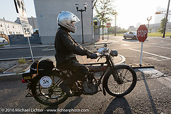 Norm Nelson on his 1911 single-cylinder, single-speed, belt drive Class-1 Reading Standard motorcycle on the way to the boardwalk for the start during the Motorcycle Cannonball Race of the Century. Stage-1 from Atlantic City, NJ to York, PA. USA. Saturday September 10, 2016. Photography ©2016 Michael Lichter.