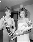 27/08/1984<br /> 08/27/1984<br /> 27 August 1984<br /> Miss Ireland/World contest at the National Concert hall. Judy Webb (left) (Limerick, who was elected Miss Friendship and Linda Ahern (Cork), one of the six finalists in the contest at the National Concert Hall.