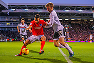 Tim Ream of Fulham and Glenn Murray of Brighton and Hove Albion during the Sky Bet Championship match at Craven Cottage, London<br /> Picture by Richard Brooks/Focus Images Ltd 07947656233<br /> 02/01/2017