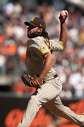 Oct 3, 2021; San Francisco, California, USA; San Diego Padres pitcher Nabil Crismatt (74) delivers a pitch against the San Francisco Giants during the sixth inning at Oracle Park. Mandatory Credit: D. Ross Cameron-USA TODAY Sports