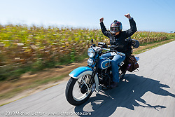 Jody Perewitz always happy riding her 1936 Harley-Davidson VLH in the Cross Country Chase motorcycle endurance run from Sault Sainte Marie, MI to Key West, FL (for vintage bikes from 1930-1948). Stage 4 saw a 315 mile ride from Urbana, IL to Bowling Green, KY USA. Monday, September 9, 2019. Photography ©2019 Michael Lichter.