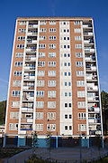 A twelve story tower block of social housing on George Downing estate in the London borough of Hackney.