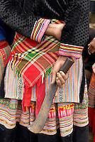 Vietnam. Haut Tonkin. Region de Bac Ha. Marché du dimanche de Bac Ha. Ethnie Hmong fleur. // Vietnam. North Vietnam. Bac Ha area. Sunday market at Bac Ha.  Flower Hmong ethnic group.