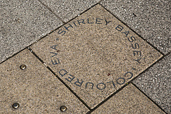 Cardiff, UK. 2nd May, 2017. A memorial to singer Shirley Bassey on the pavement in Bute Street. Shirley Bassey was born above the former Canadian Cafe at 182 Bute Street, which was then the main thoroughfare of the old Tiger Bay district.