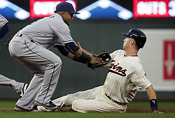 September 13, 2017 - Minneapolis, MN, USA - The Minnesota Twins' Joe Mauer is tagged out by San Diego Padres infielder Erick Aybar trying to steal second base in the first inning on Wednesday, Sept. 13, 2017, at Target Field in Minneapolis. (Credit Image: © Carlos Gonzalez/TNS via ZUMA Wire)