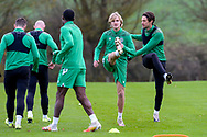 Trialist Thomas Roberts (centre) during the Hibernian training session at Hibernian Training Centre, Ormiston, Scotland on 27 November 2020, ahead of their Betfred Cup match against Dundee.