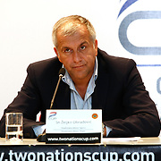 Panathinaikos head coach Zeljko Obradovic seen during their Two Nations Cup Press Conference press conference at Anadolu Efes sports hall in Istanbul Turkey on Friday 30 September 2011. Photo by TURKPIX