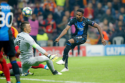 November 26, 2019, Galatasaray, Turkey: Galatasaray's Fernando Muslera and Club's Emmanuel Bonaventure Dennis fight for the ball during a game between Turkish club Galatasaray and Belgian soccer team Club Brugge, Tuesday 26 November 2019 in Istanbul, Turkey, fifth match in Group A of the UEFA Champions League. (Credit Image: © Bruno Fahy/Belga via ZUMA Press)