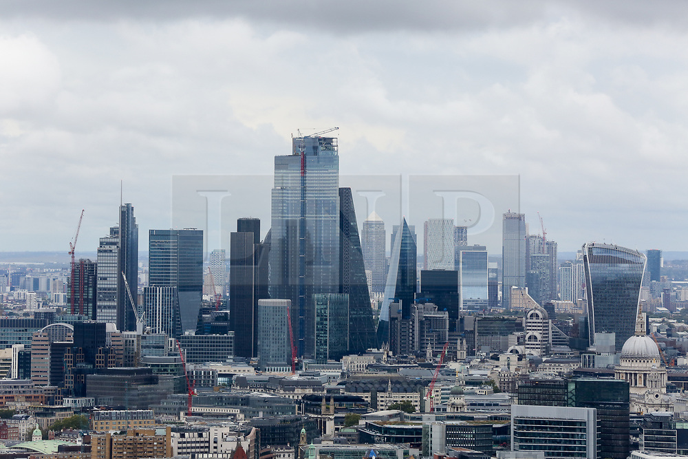 © Licensed to London News Pictures. 22/09/2019. London, UK. An aerial view of London financial district on a cloudy day in the capital seen from BT Tower. Photo credit: Dinendra Haria/LNP