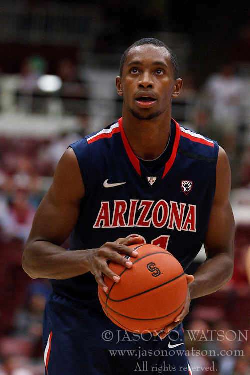 February 3, 2011; Stanford, CA, USA;  Arizona Wildcats guard Kyle Fogg (21) before a free throw against the Stanford Cardinal during the first half at Maples Pavilion.  Arizona defeated Stanford 78-69.