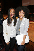 CAMBRIDGE, MASSACHUSETTS-APRI 26: (L-R) Arts Educator/Curator/Author Sarah Lewis and Actress/Activist Yara Shahidi attends 'Vision & Justice, A Convening, Day 2'  sponsored by the Radcliffe Institute for Advanced Study, the Ford Foundation, and is co-sponsored by the Hutchins Center for African & African American Research, the Harvard Art Museums and the American Repertory Theater.held at the Sanders Theatre on April 26, 2019 in Cambridge, Massachusetts (Photo by Terrence Jennings for trrencejennings.com)
