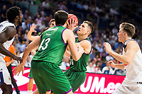 Real Madrid's player Othello Hunter and Luka Doncic and Unicaja Malaga's player Carlos Suarez and Nemanja Nedovic during match of Liga Endesa at Barclaycard Center in Madrid. September 30, Spain. 2016. (ALTERPHOTOS/BorjaB.Hojas)