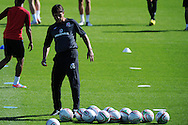 Wales manager Chris Coleman . Wales football players training at the Vale, in Cardiff on Wed 5th Sept 2012, ahead of their forthcoming World cup qualifier against Belgium on Friday 8th Sept.  pic by  Andrew Orchard, Andrew Orchard sports photography,